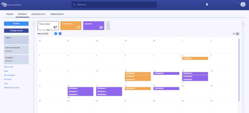 Calendário de entregas – Planeje com o AccuScheduler®